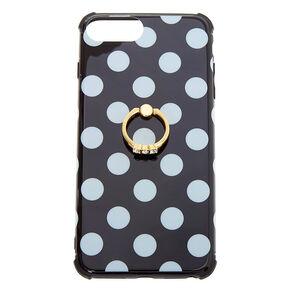 Black Polka Dot Ring Holder Phone Case - Fits iPhone 6/7/8 Plus,