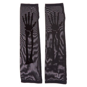 Skeleton Long Fingerless Gloves - Black, 2 Pack,