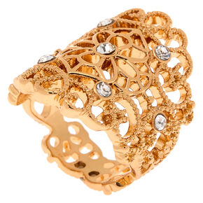 Gold Filigree Flower Ring,