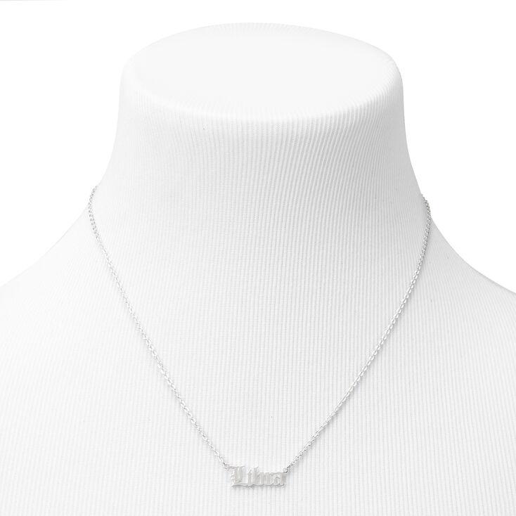 Silver Gothic Zodiac Pendant Necklace - Libra,