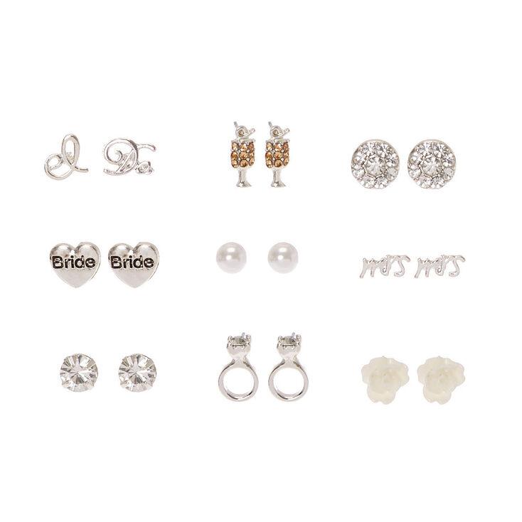 9 Pack Silver Tone Bride Motif Stud Earrings,