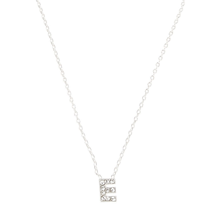 Silver Initial Pendant Necklace - E,