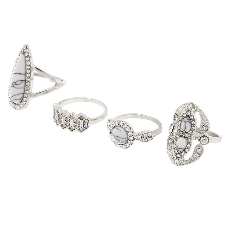 Silver Marble Rings - White, 4 Pack,