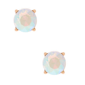 Gold 10MM Round Stone Stud Earrings - Clear,