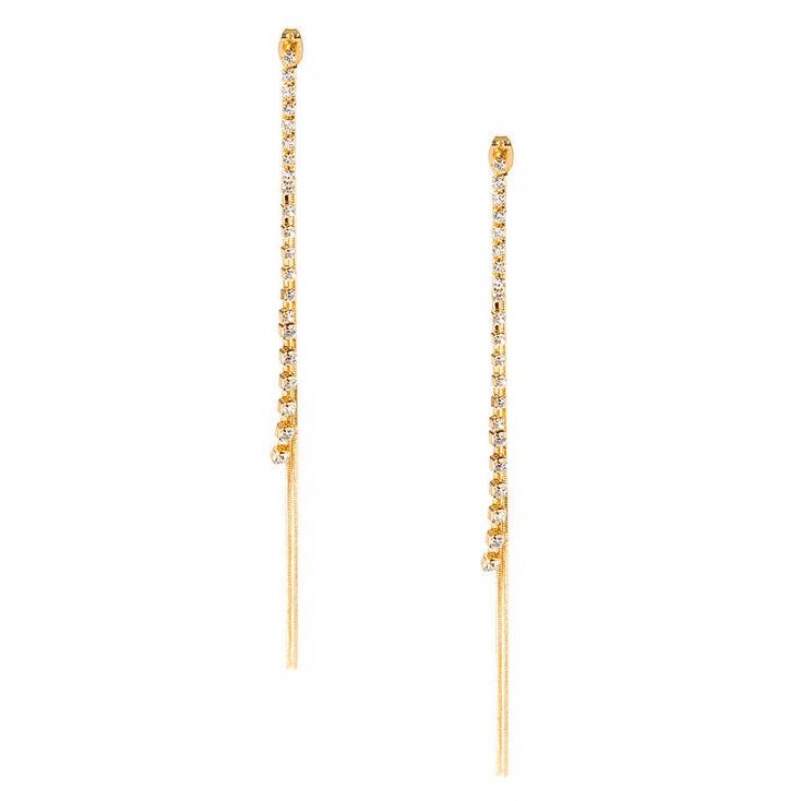 Rhinestone & Gold Coil Chains Earrings,