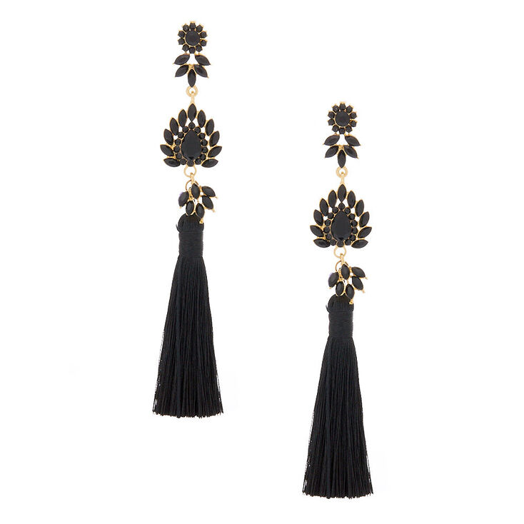 "5"" Embellished Tassel Earrings - Black,"