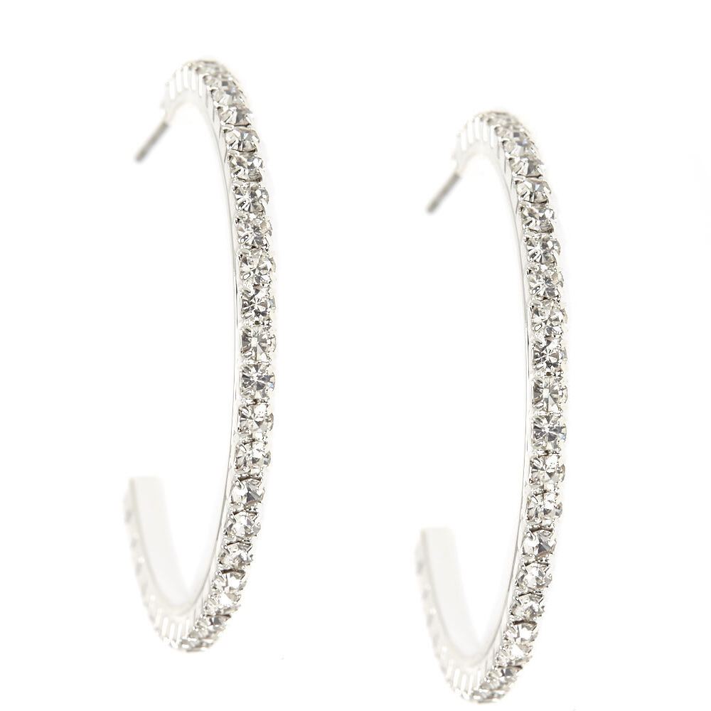Silver Crystal Half Hoop Earrings