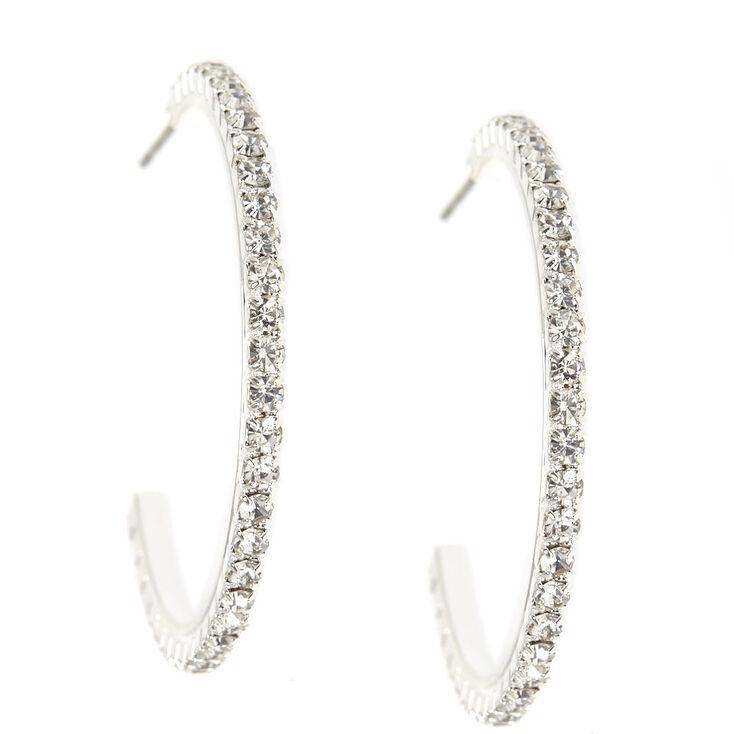 30MM Silver Rhinestone Half Hoop Earrings,