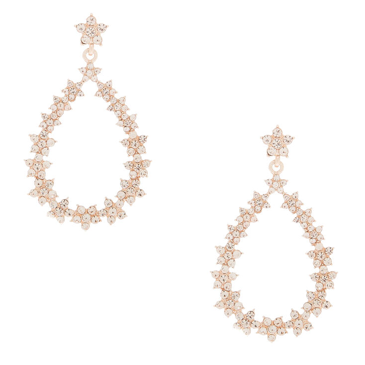 "Rose Gold 2"" Floral Wreath Drop Earrings,"
