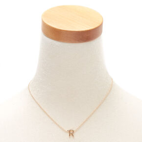 Gold Initial Necklace - R,
