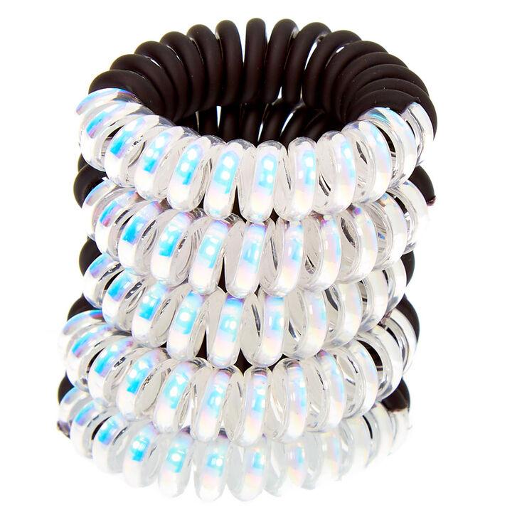 Half Holographic Mini Spiral Hair Ties - Black, 5 Pack,