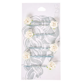 White Paper Rose Bobby Pins,