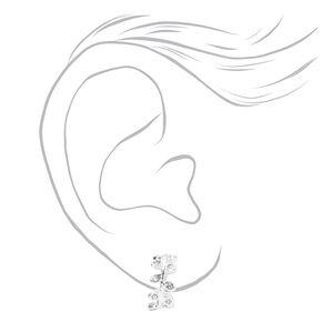Silver 10MM Embellished Leaf Clip On Stud Earrings,