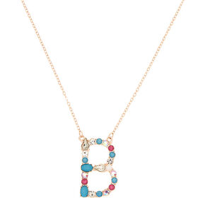 Embellished Long Initial Pendant Necklace - B,