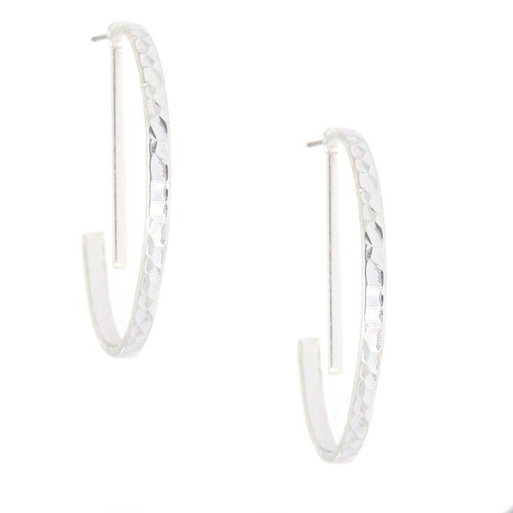 Silver 40MM Geometric Half Hoop Earrings,