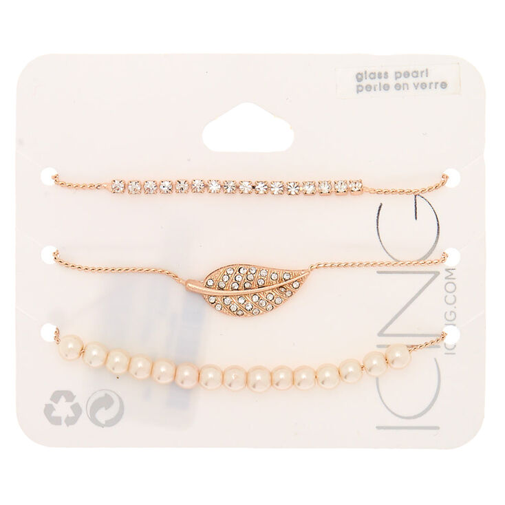 Rose Gold Embellished Adjustable Bracelets - 3 Pack,