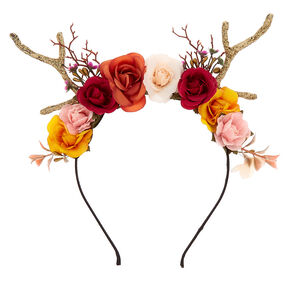 Autumn Flower Crown Deer Antlers Headband,
