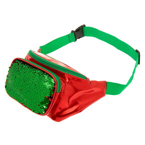 Reversible Sequin Christmas Fanny Pack - Red,