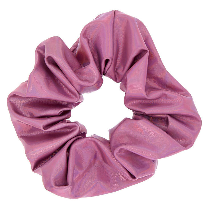 Medium Holographic Hair Scrunchie - Pale Pink,