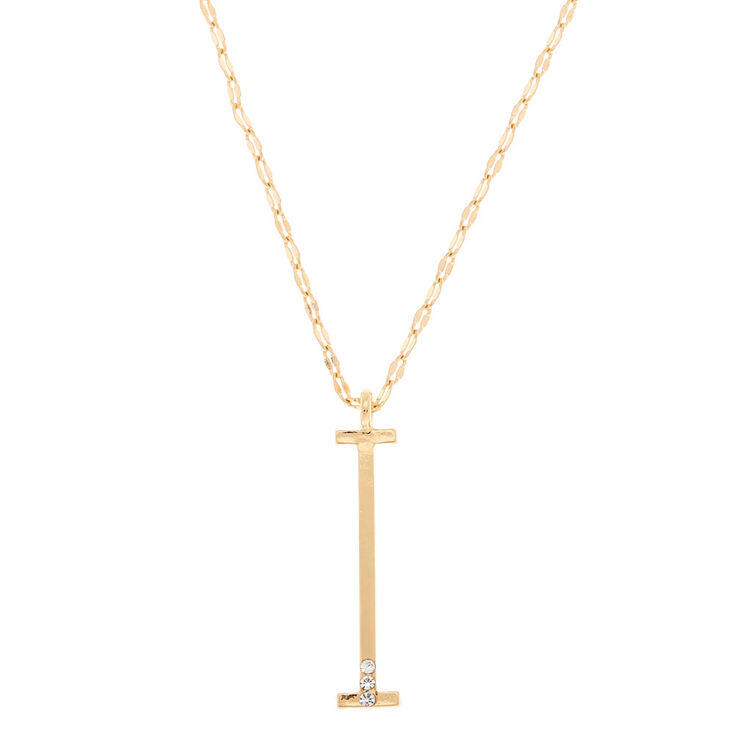 Gold Large Initial Pendant Necklace - I,