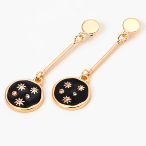 "Gold 2"" Celestial Constellation Bar Drop Earrings - Black,"