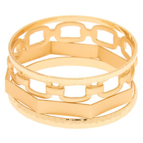Gold Chain Bangle Bracelets - 4 Pack,