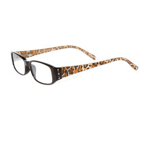 Black & Leopard Print Rectangle Reading Glasses with Crystals,