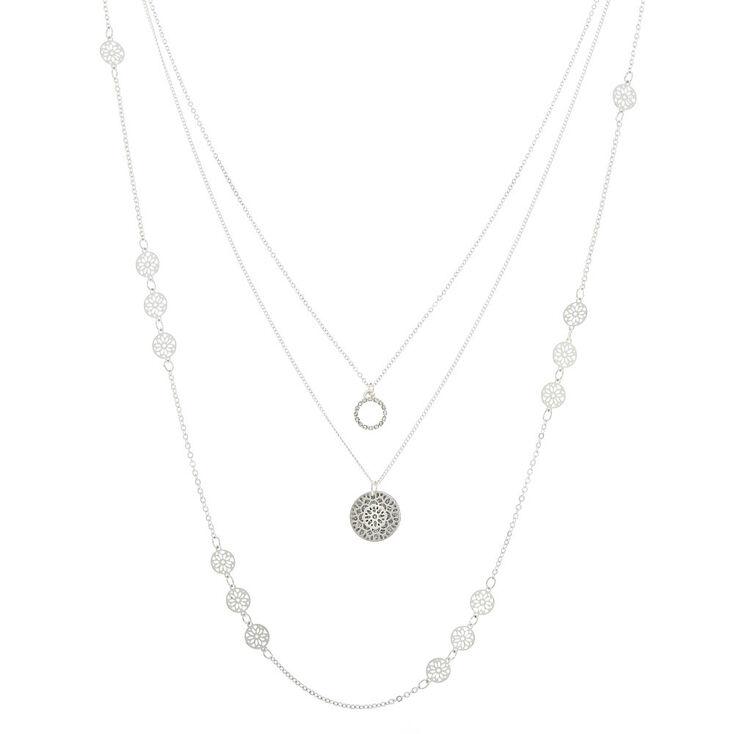 Long Silver Filigree Multi Strand Necklace,