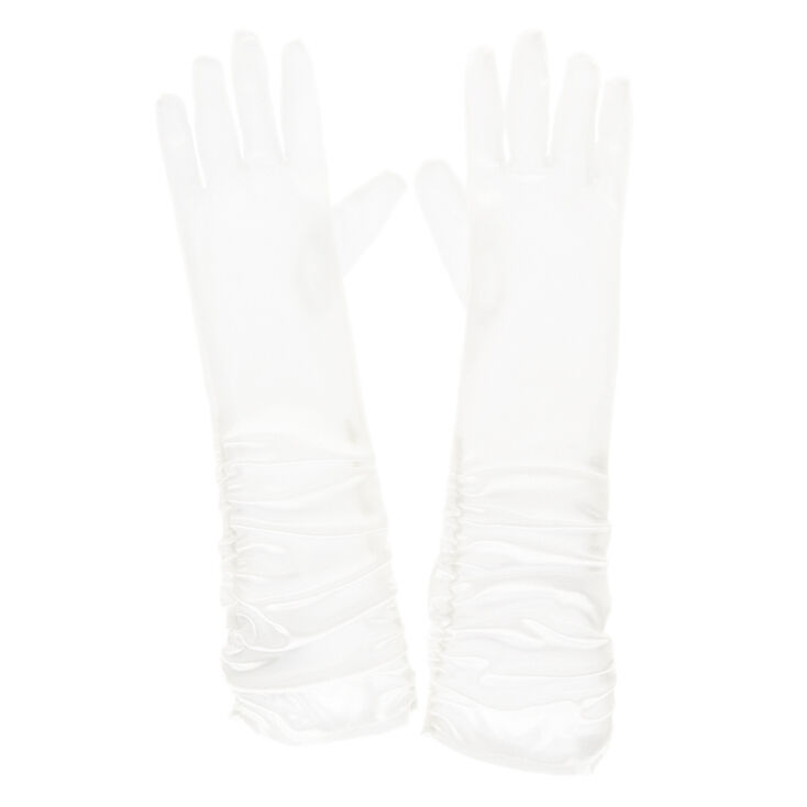 Long Ruched Gloves - White,