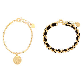 Gold Woven Coin Chain Bracelets - 2 Pack,