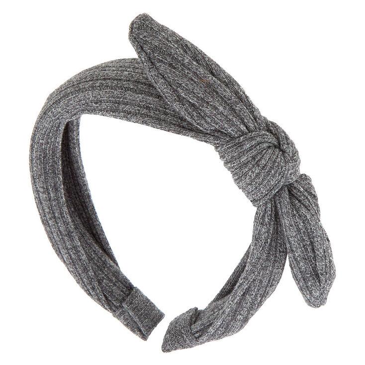 Ribbed Knot Bow Headband - Gray,
