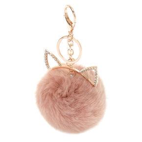 Cat Pom Keychain - Pink,