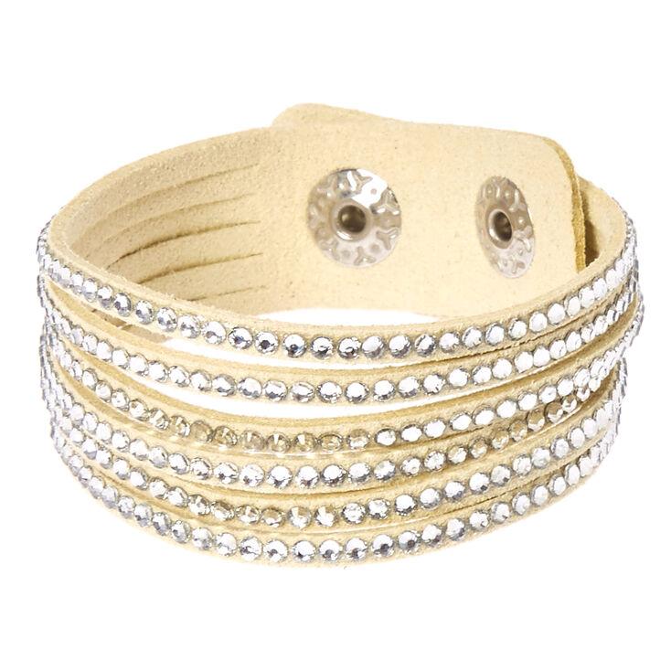 Cream & Silver Gem Snap Button Bracelet,