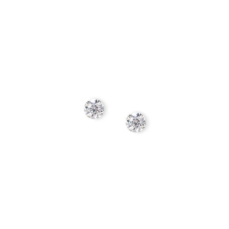 4MM Sterling Silver Round Cubic Zirconia Martini Set Stud Earrings,