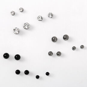 Mixed Metal Graduated Round Magnetic Stud Earrings - 9 Pack,