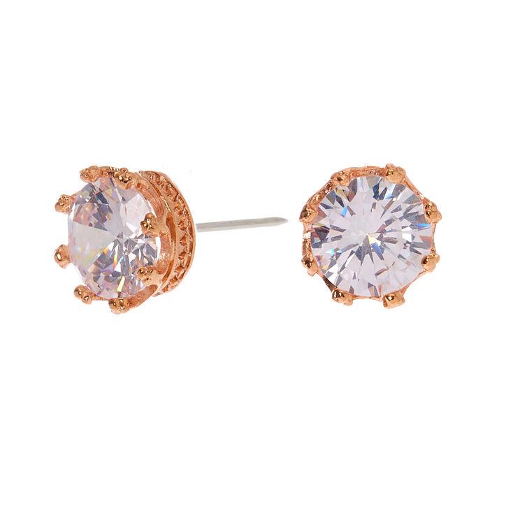 Rose Gold Cubic Zirconia Round Crown Stud Earrings - 8MM,