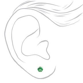 Silver Deep Green Cubic Zirconia Round Stud Earrings - 3 Pack, 5MM,