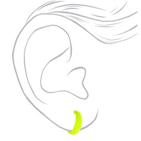 25MM Rubber Hoop Earrings - Neon Yellow,