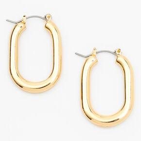 Gold 30MM Squared Oval Hoop Earrings,