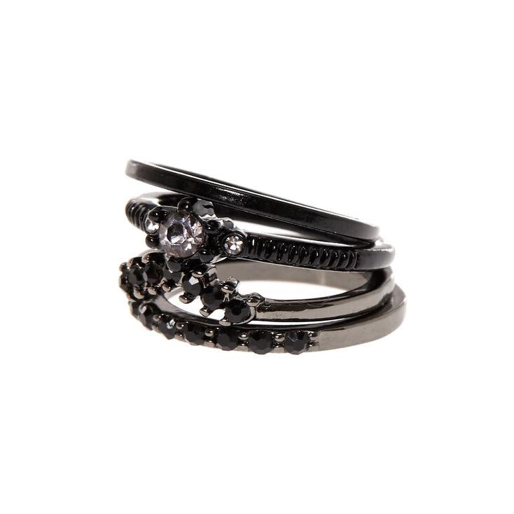Black Diamond 4 Pack Midi Rings,