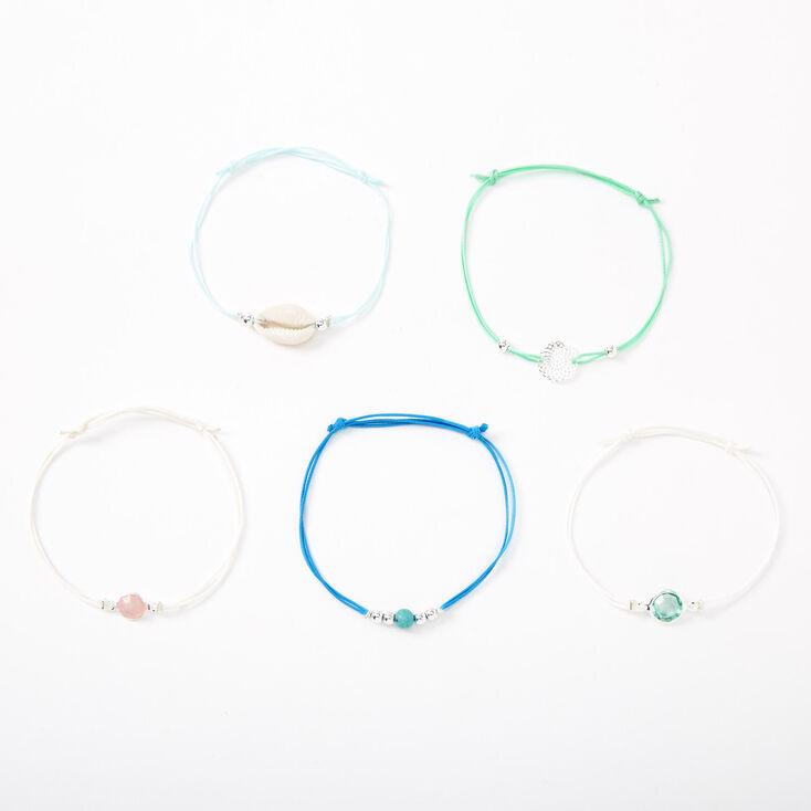 Silver Filigree Seashell Stone Bracelets - Blue, 5 Pack,