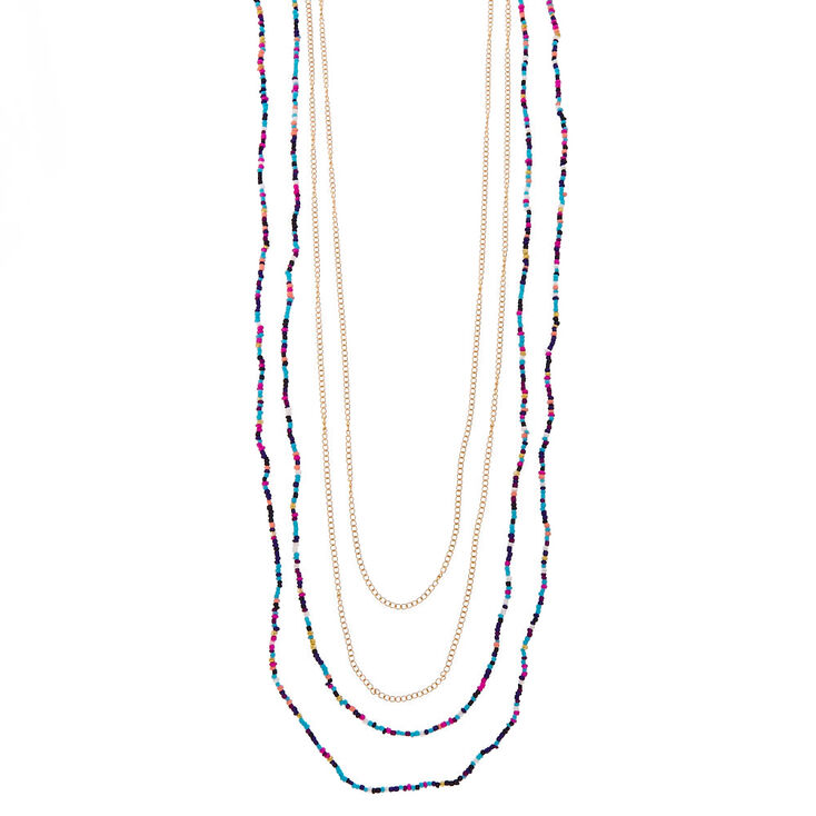 Multi-Strand Colored Bead & Gold-Tone Long Necklace,