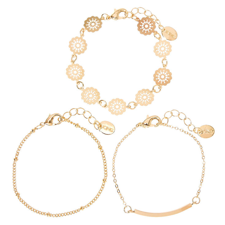 Gold Filigree Chain Bracelets - 3 Pack,