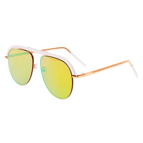 White Browbar Aviator Sunglasses - Rose Gold,