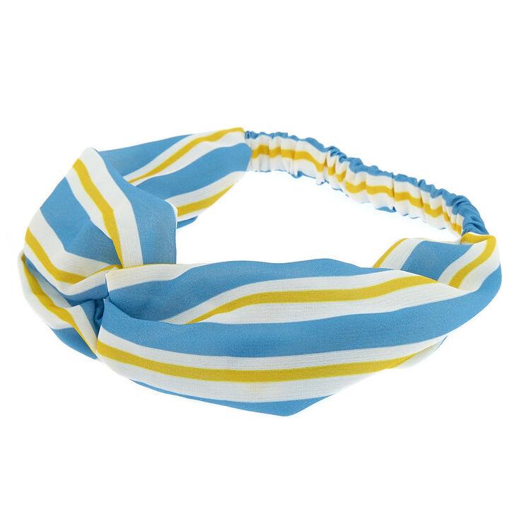 Stripe Knot Turban Headwrap - Blue,