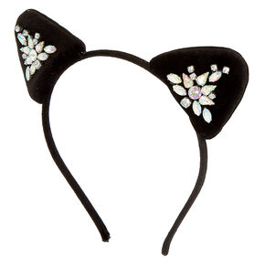 Velvet Stone Cat Ears Headband - Black,