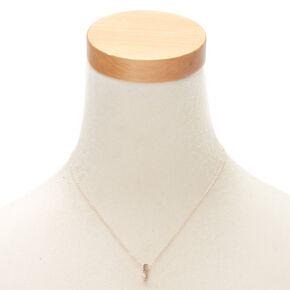 Rose Gold Cursive Initial Pendant Necklace - F,