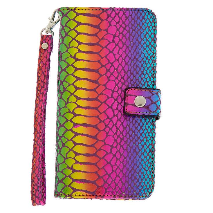 Metallic Rainbow Snake Skin Folio Phone Case,