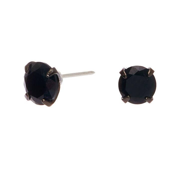 Sterling Silver Cubic Zirconia Hematite 5MM Round Stud Earrings - Black,