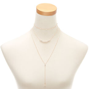 Rose Gold Pearl Multi Strand Necklace,
